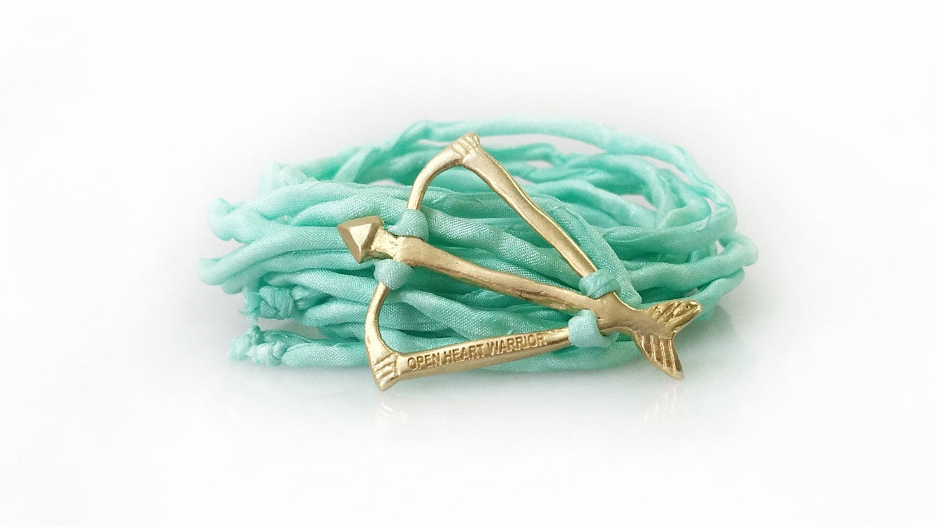 Open Heart Warrior Bow and Arrow NEW! Limited Mint Blue Silk Wrap Bracelet