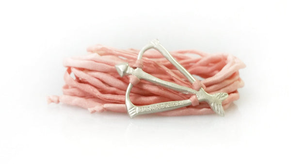 Open Heart Warrior Bow and Arrow NEW! Limited Blush Silk Wrap Bracelet
