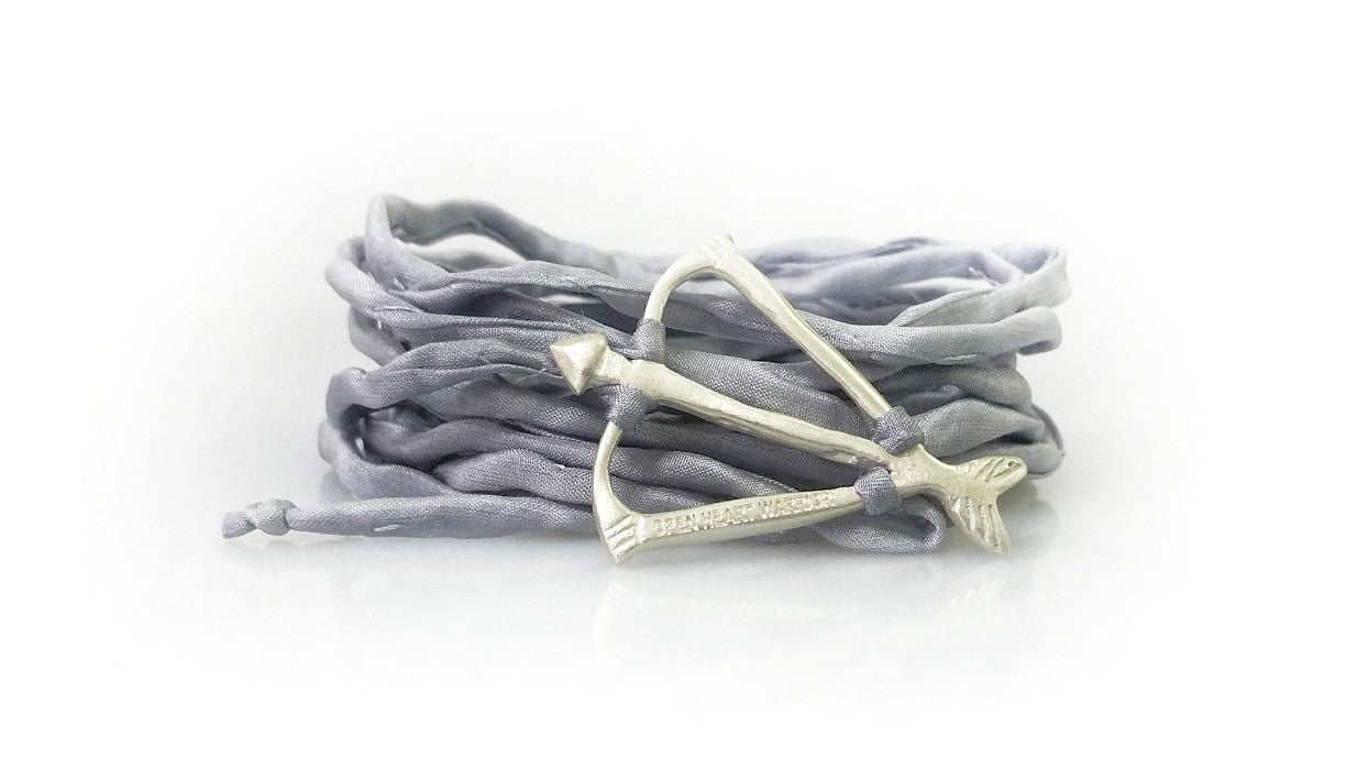 Open Heart Warrior Bow and Arrow NEW! Light Grey Silk Wrap Bracelet