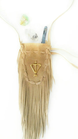 Open Heart Warrior Tan Leather Sacred Bag Necklace / Medicine Bag