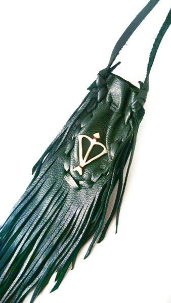 Open Heart Warrior Dark Emerald Green Leather Sacred Bag Necklace / Medicine Bag
