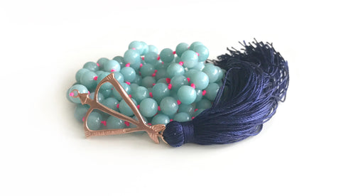New! Open Heart Warrior Amazonite Truth & Hope 108 Mala
