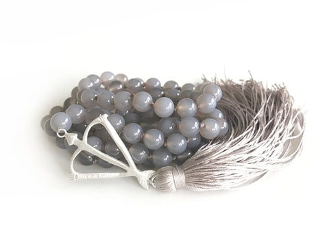 NEW! Limited Edition Open Heart Warrior Natural Gray Agate Strength & Harmony 108 Mala