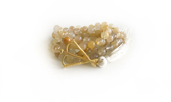 Open Heart Warrior Golden Rutilated Quartz Divine 108 Mala
