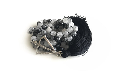 I Am Powerful + Prosperous Black Rutile 108 Mala