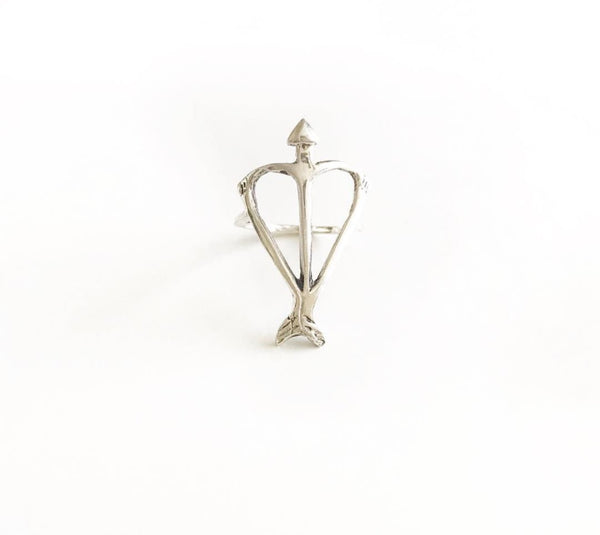 Signature Open Heart Warrior Bow & Arrow Recycled Sterling Silver Ring