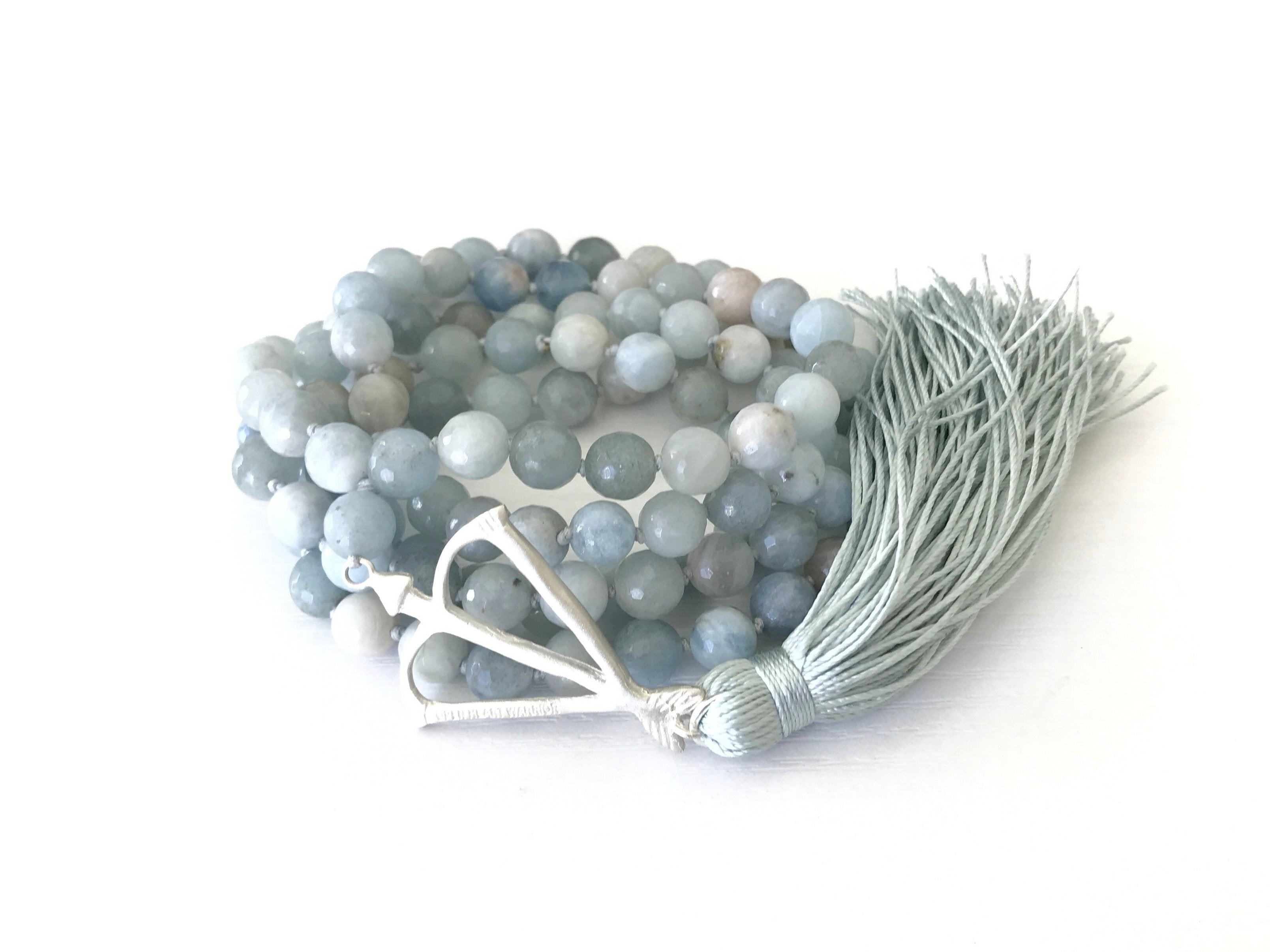 NEW! OHW Faceted Aquamarine Courage & Protection 108 Mala