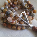 Open Heart Warrior Faceted Fire Agate Passion 108 Mala