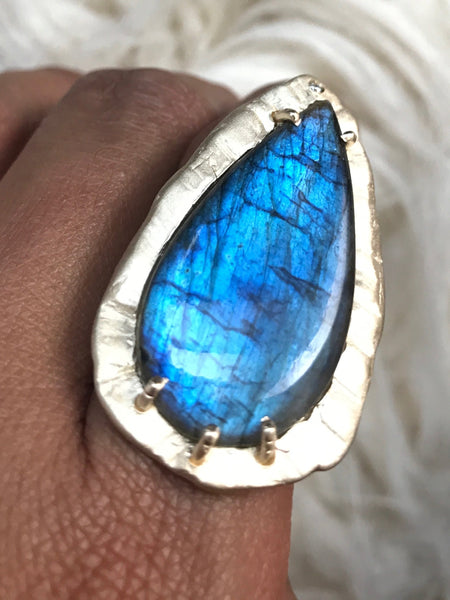14k  XL Labradorite Diamond Spirit Ring Fine Jewelry