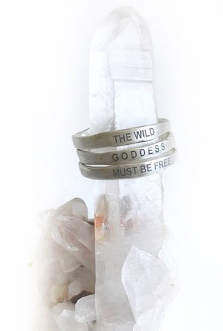 NEW! Sterling Silver Intention Triple Stacking Quote Ring Series