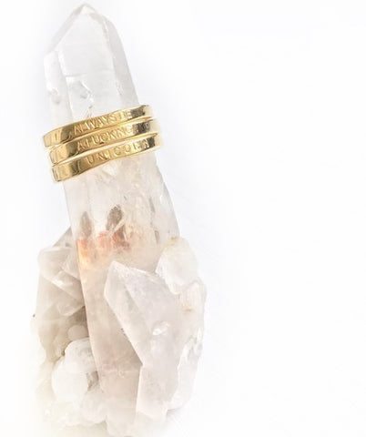 NEW! 24k Gold Vermeil Intention Triple Stacking Quote Ring Series