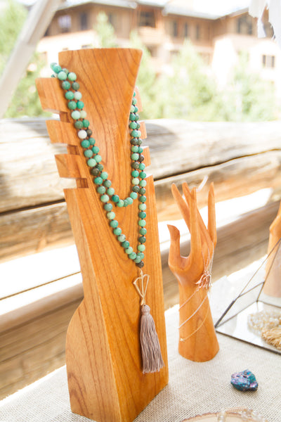 Open Heart Warrior Natural Chrysoprase Joy & Happiness One Of A Kind 108 Mala Gold