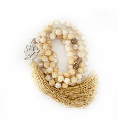 NEW! Mother of Pearl & Quartz I Am Enough Lotus Goddess Mala a KinoYoga Capsule for Open Heart Warrior