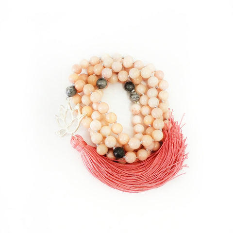 NEW! Peach Aventurine & Grey Agate Prosperous Lotus Goddess Mala a KinoYoga Capsule for Open Heart Warrior