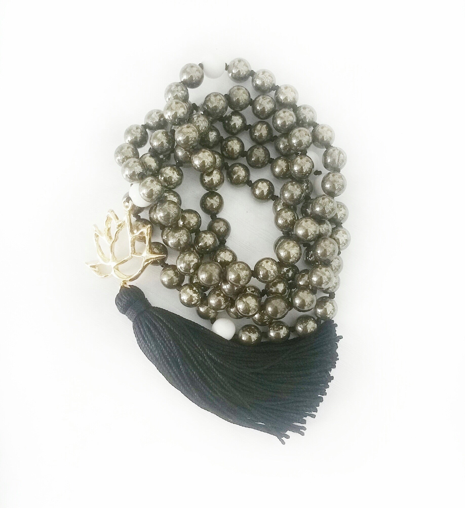 Pyrite & White Shell Abundance Lotus Goddess Mala a KinoYoga Capsule for Open Heart Warrior