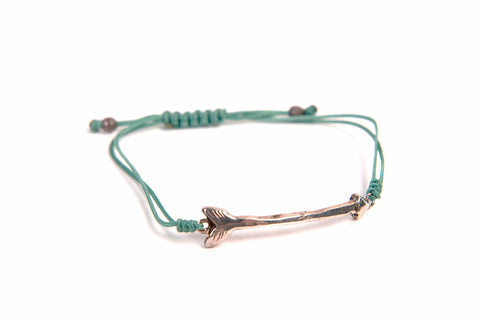 Follow Your Arrow Recycled Sterling Silver Bracelet With Macrame Pull Clasp