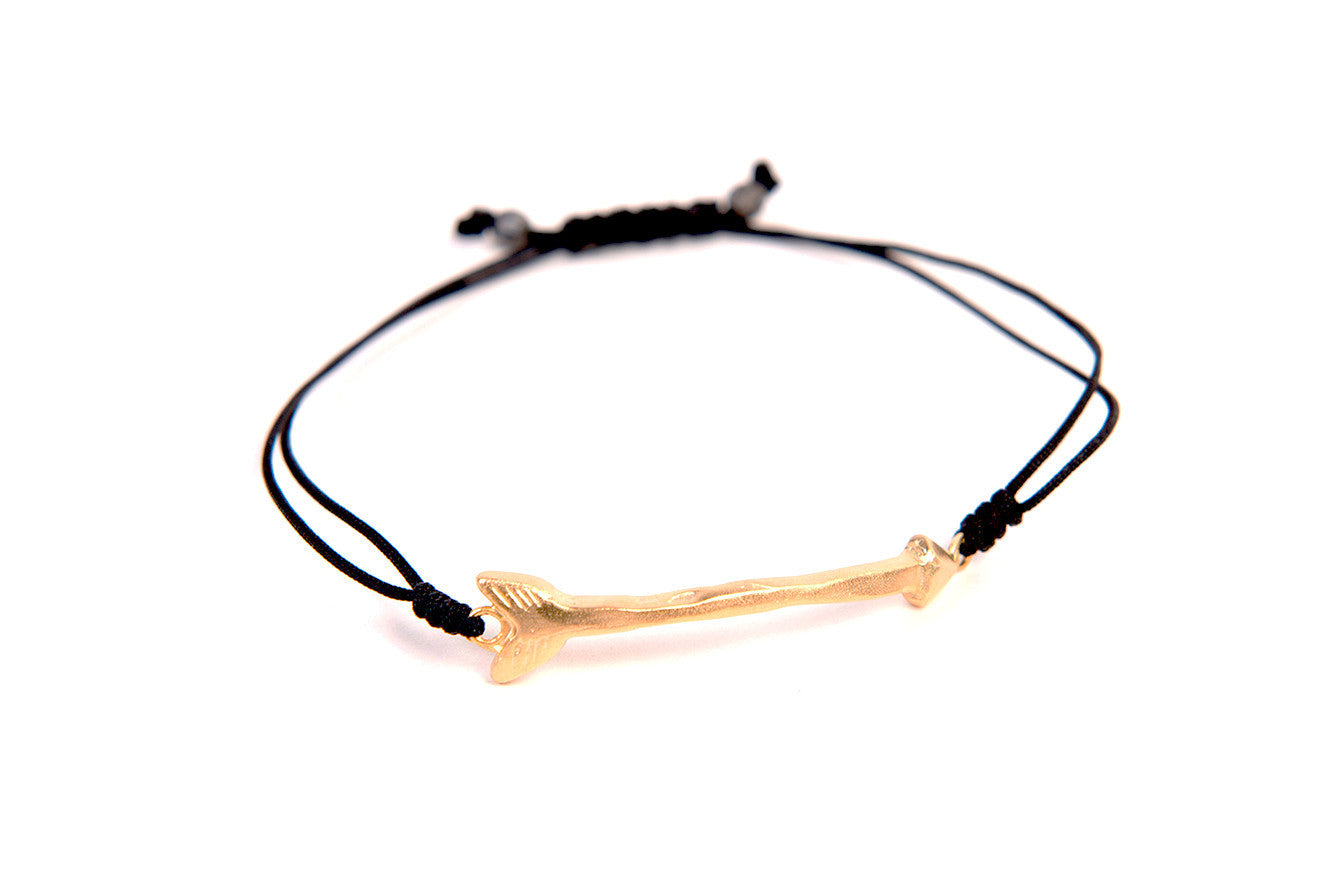 Follow Your Arrow 24k Gold Vermeil Bracelet With Macrame Pull Clasp