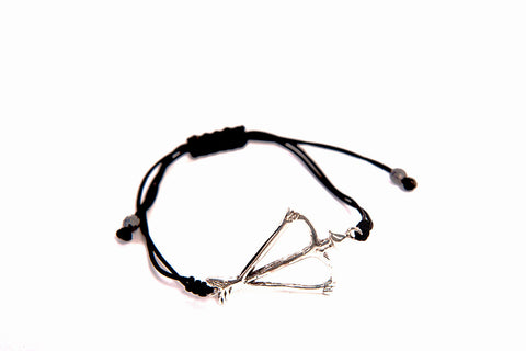 Signature Open Heart Warrior Recycled Sterling Silver Bow & Arrow Bracelet Macrame Pull Clasp