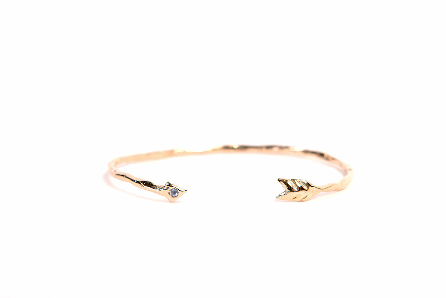 Gold Take Aim Adjustable Arrow Bangle With Genuine Tanzanite