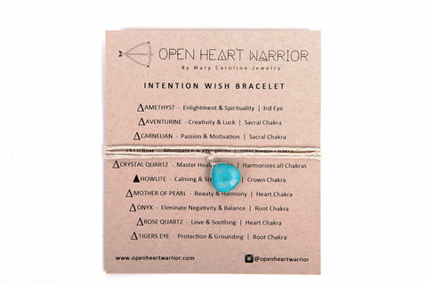 Blue Howlite Calming Stress Relief Stone Intention Wish Bracelets / Necklace Organic Hemp