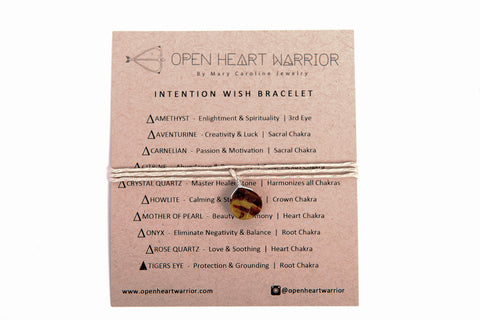 Genuine Tigers Eye Strength & Grounding Intention Wish Bracelets / Necklace Organic Hemp