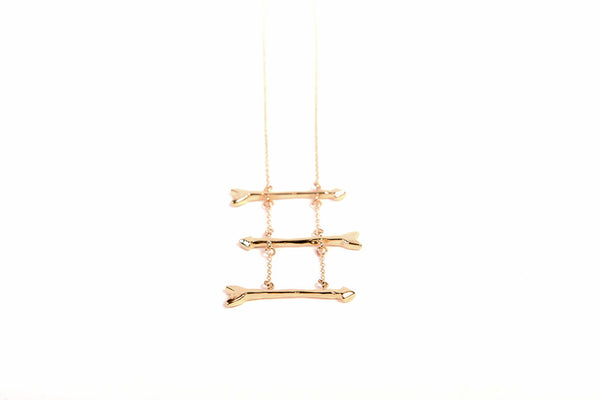"Gold Journey Arrow Ladder 36"" Long Necklace"