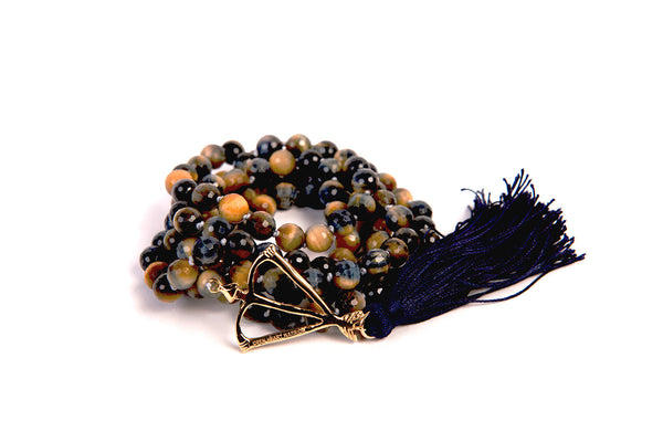 Yoga Journal Magazine Feature NEW! Open Heart Warrior Faceted Blue Tigers Eye Empower 108 Mala