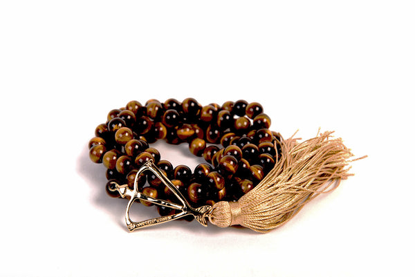 NEW! Open Heart Warrior Tigers Eye Will and Strenght 108 Mala