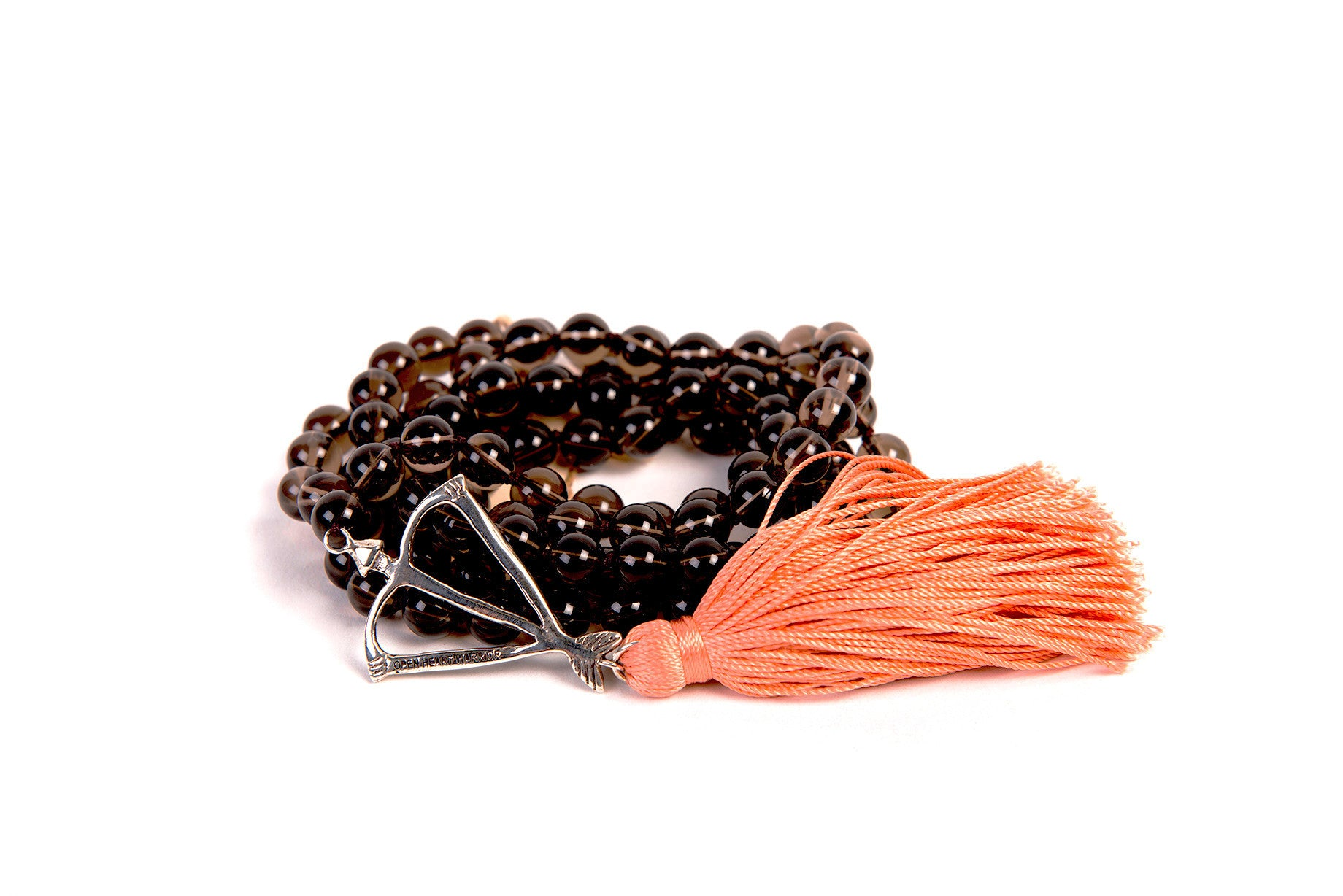 NEW! Open Heart Warrior Natural Smoky Quartz Earth Connection 108 Mala