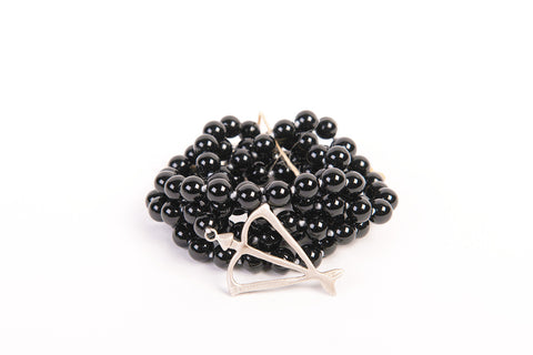 Men's Unisex Open Heart Warrior Black Onyx Protection 108 Mala