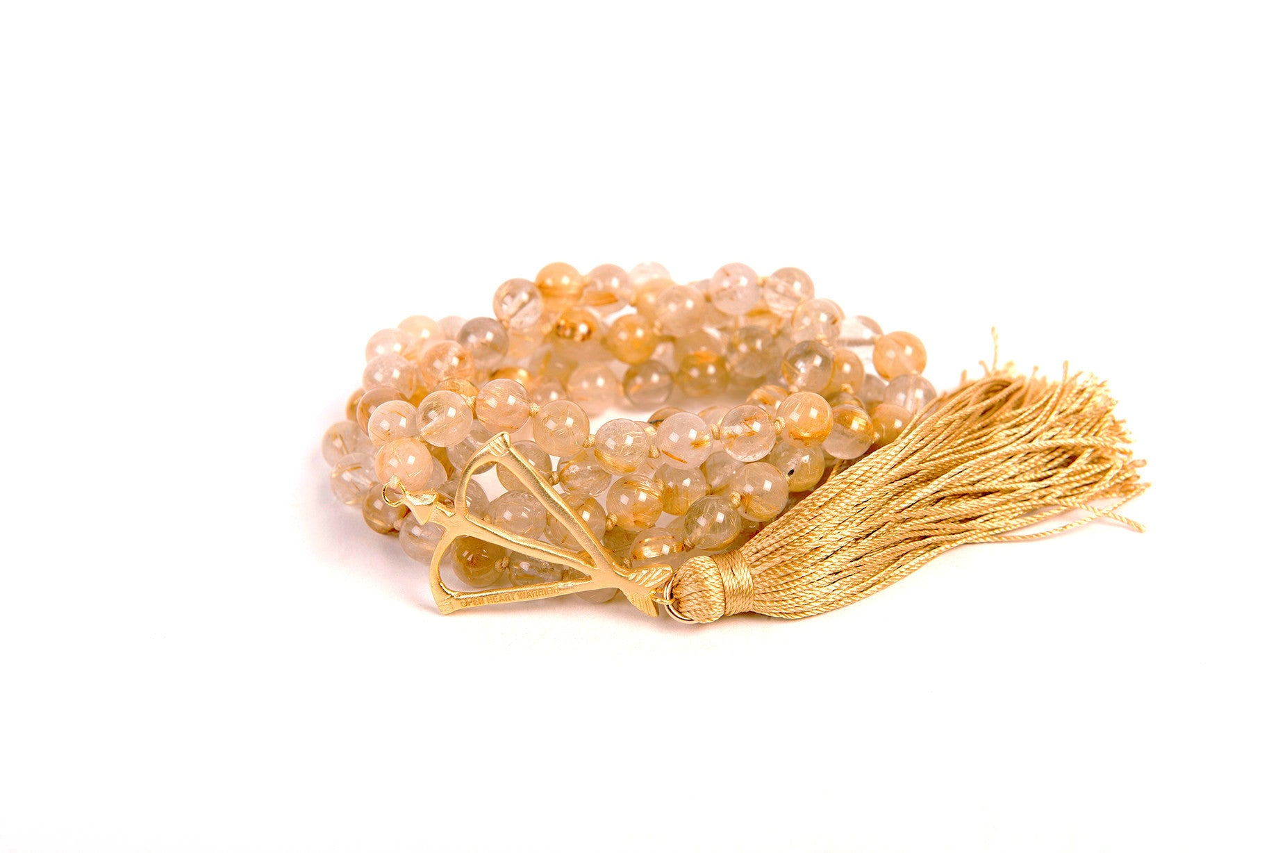 "Solid 14k Gold Open Heart Warrior Golden Rutilated Quartz ""Divine"" 108 Mala"