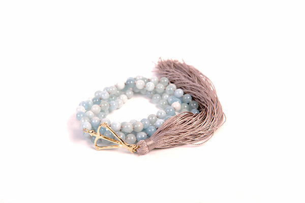 14k Gold OHW Aquamarine Courage & Protection 108 MINI Mala
