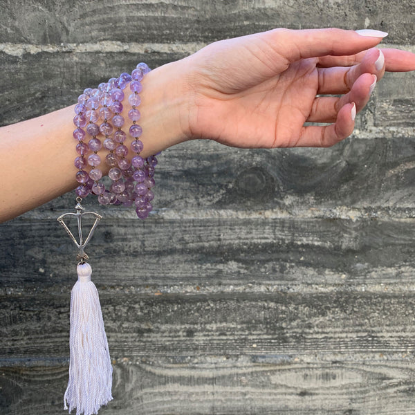 Open Heart Warrior Ametrine Amethyst Citrine Hybrid 108 Meditation Mala