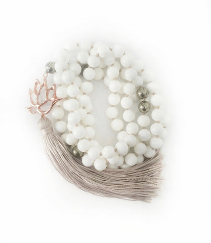 NEW! White Shell & Pyrite True Self Lotus Goddess Mala a KinoYoga Capsule for Open Heart Warrior