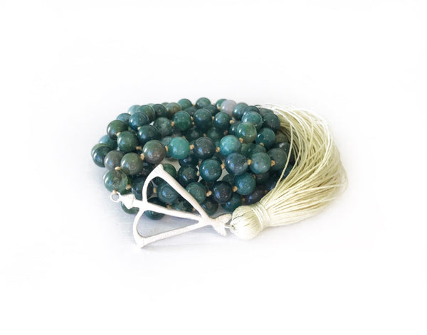 NEW! Open Heart Warrior MY LIFE IS ABUNDANT Moss Agate 108 Mala