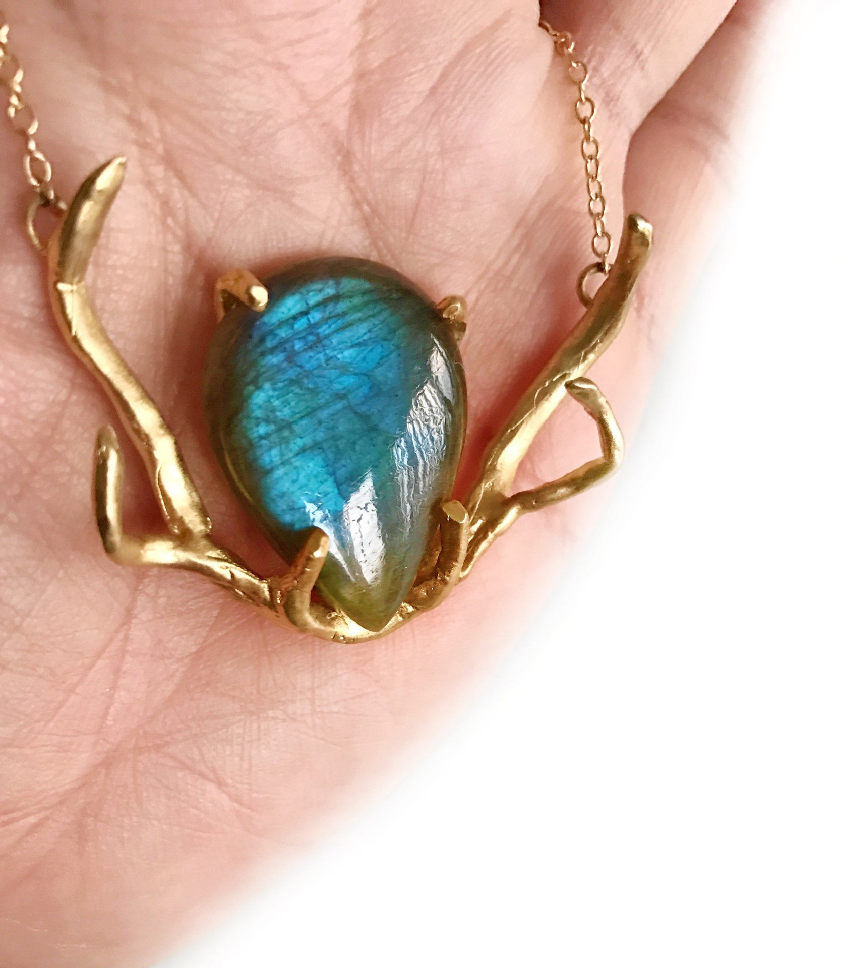 NEW! Huntress 24k Gold Vermeil 80cts Magical Fiery Labradorite Antler Necklace