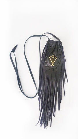 Open Heart Warrior Black Leather Sacred Bag Necklace / Medicine Bag