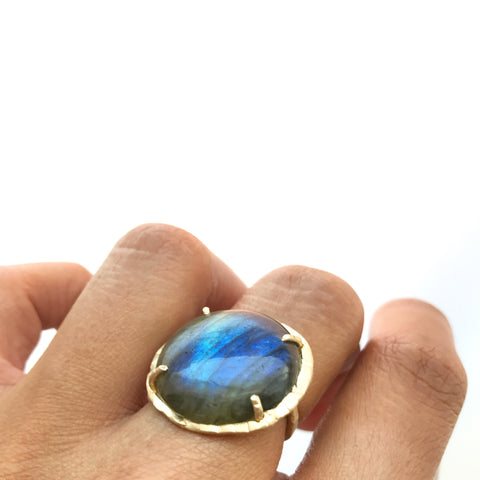 14k Labradorite Solar Eclipse Ring Fine Jewelry