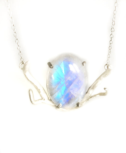 NEW! Huntress Sterling Silver 100cts Soft Fiery Moonstone Antler Necklace
