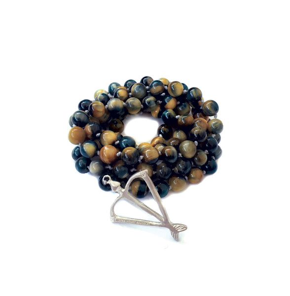 NEW! Men's Unisex Open Heart Warrior Blue Tigers Eye Empower 108 Mala