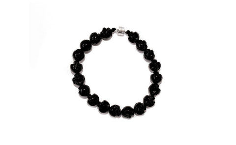 Unisex Open Heart Warrior Rebirth Onyx Skulls Mala Bracelet with Magnetic Clasps
