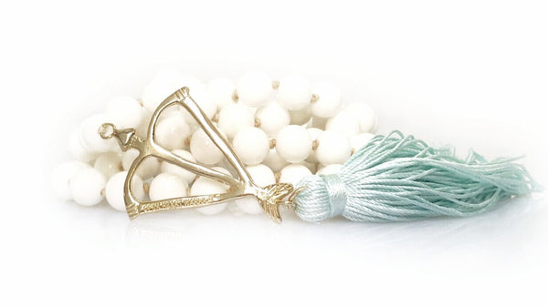 "The ""KinoYoga"" Open Heart Warrior White Shell Truth & Purity 108 Mala"
