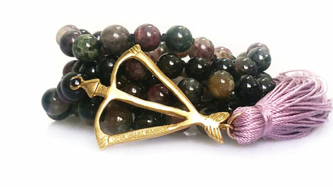 Faceted Multi-Tourmaline Open Heart Warrior I AM WELL + STRONG + PROTECTED 108 Mala