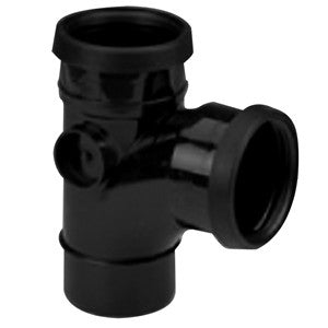 Kalsi 110mm Black PVC 92.5 degree Pipe Branch (double socket)