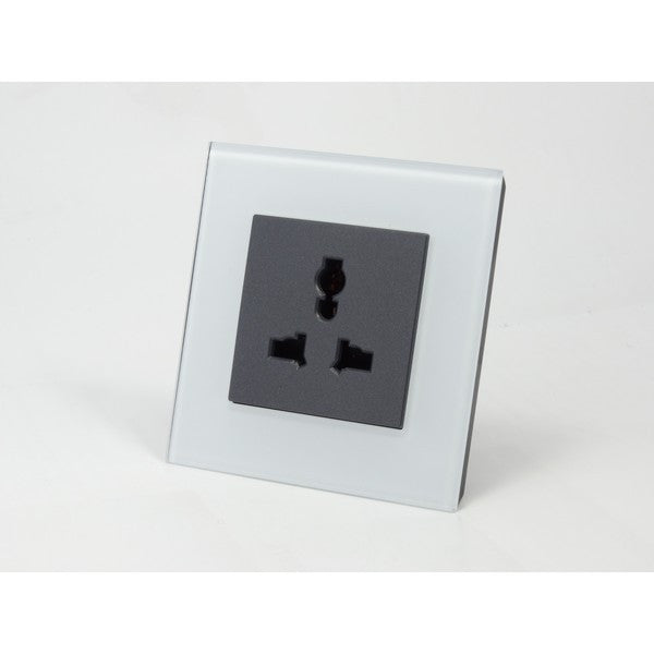 AS White Crystal Glass Multi Plug Socket