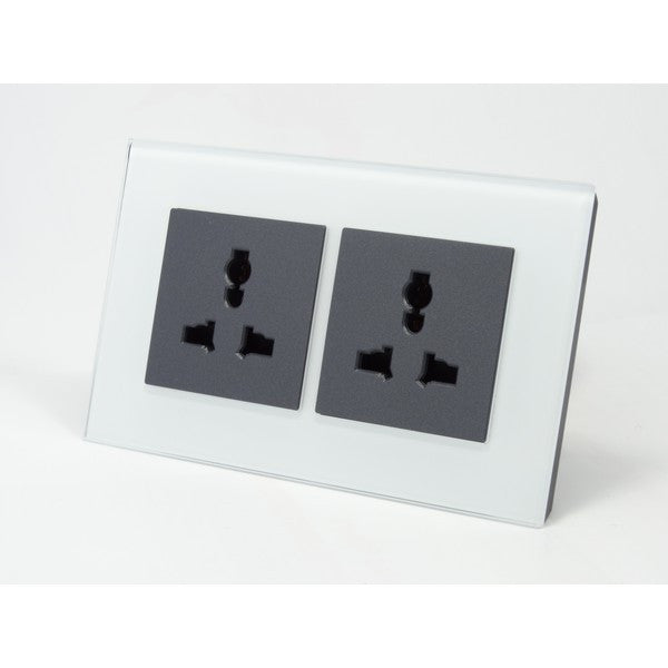 AS Double White Frame Crystal Glass Multi Plug 13A