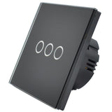 Black Crystal Glass Panel Touch Light Switch