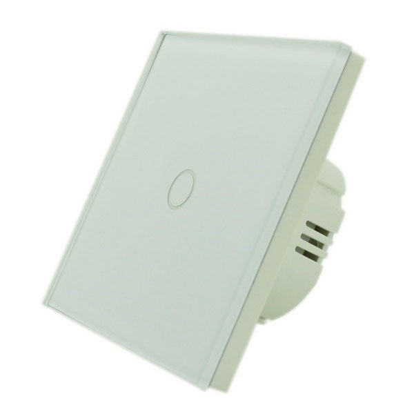 White Crystal Glass Panel Touch Light Switch