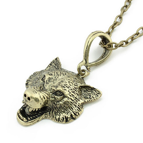 Crystal Wolf Head Necklace