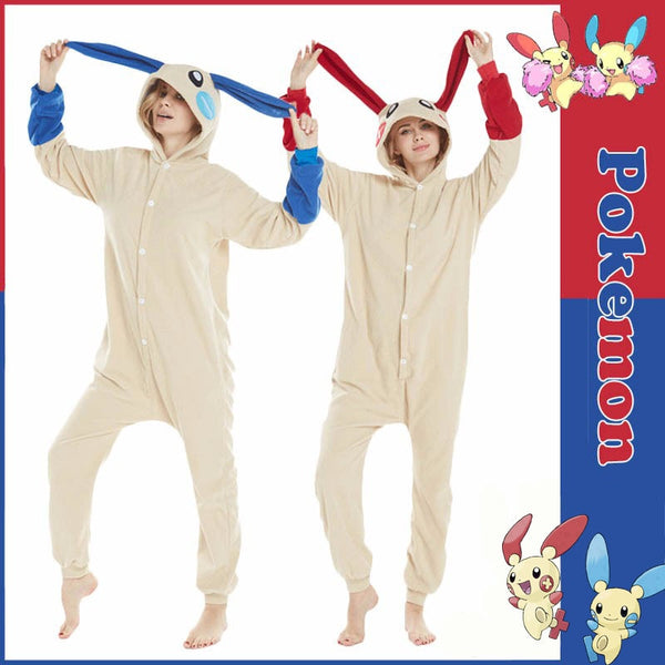 Pokemon - Minun Plusle Pajamas Homewear Sleepwear Unisex Blue And Red